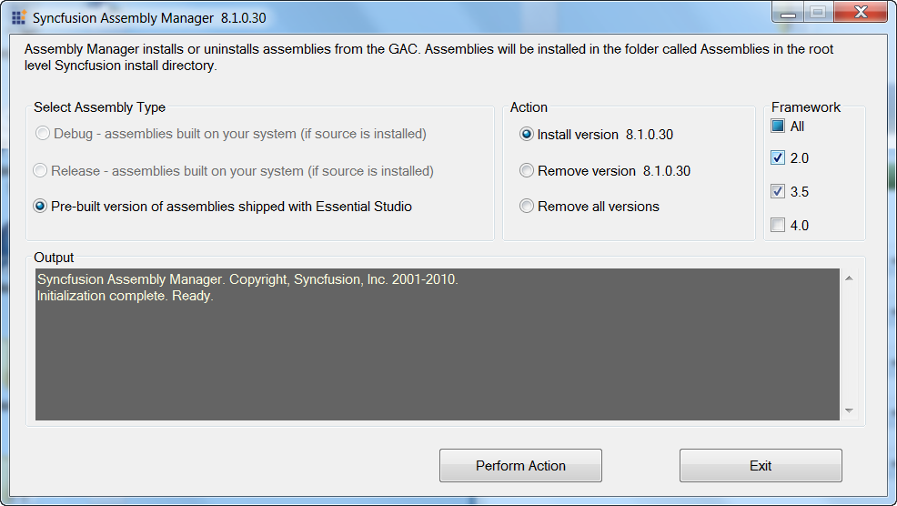 Assembly manager to instal the Syncfusion assemblies in GAC