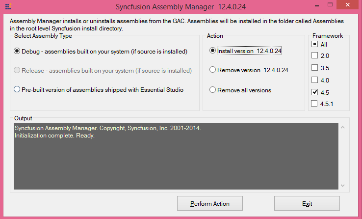 Debug and Perform Action in Syncfusion Assembly Manager