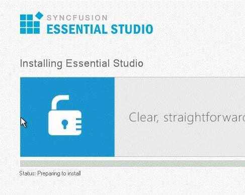 Installing Essential Studio with its progress status