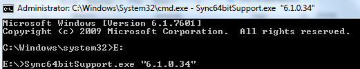 Command to execute the Syncfusion 64 bit support exe for particular version