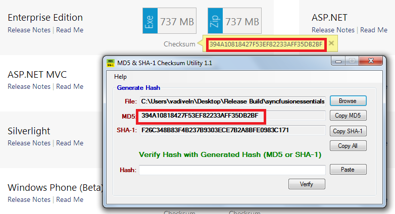 Verifying whether the checksum value mentioned in website and downloaded exe matches or not in MD5 tool.