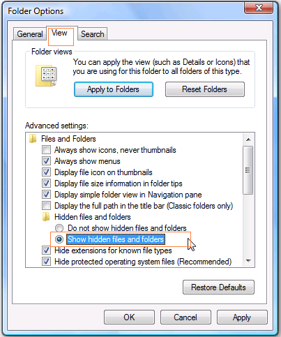 "Folder properties window and select ""Show Hidden files and folder"" option."