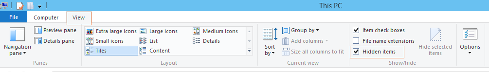 File Explorer and enable the Hidden Items