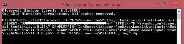 Silent installation of MSI using command prompt