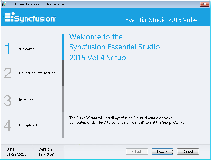 Syncfusion Essential Studio installer step by step process