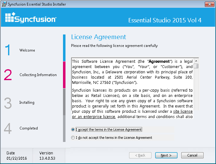 License Agreement for Syncfusion installer
