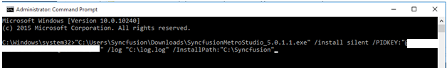 Installing Syncfusion metro studio using command prompt