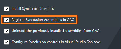 Installing Syncfusion Setup - Assemblies in GAC