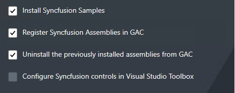 configure Syncfusion controls will be disabled in advanced options for MVC , mvc classic and JS platforms