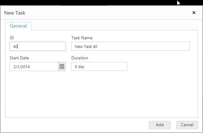 Customize the add dialog fields.