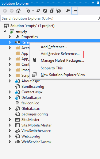 Select the Add ServiceReference option