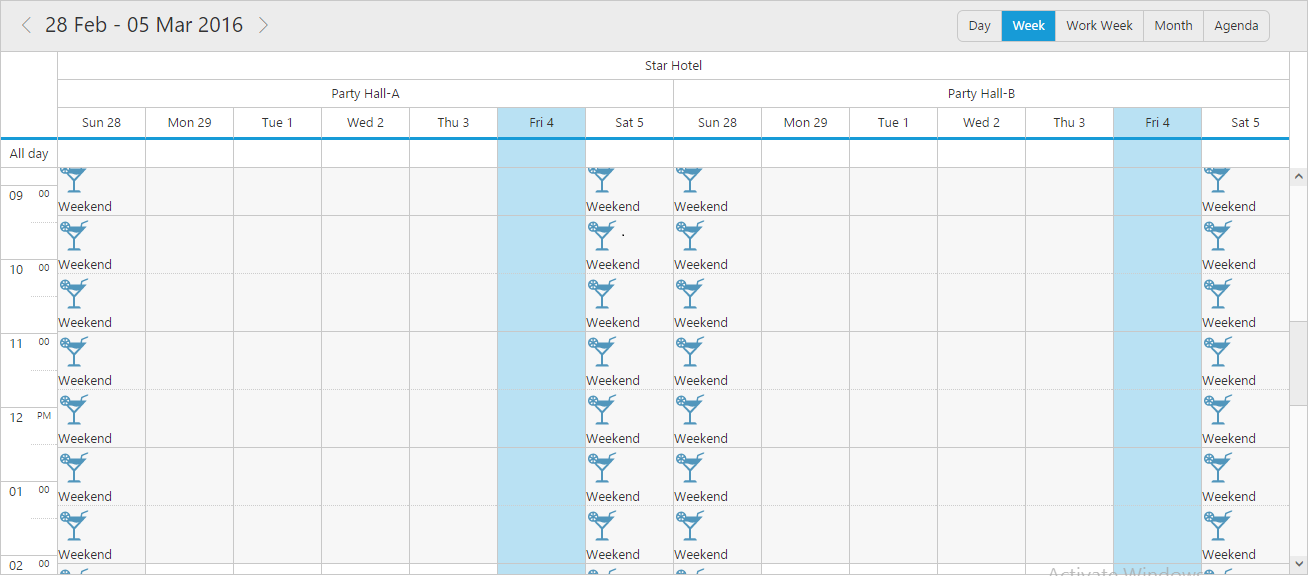 Scheduler with customized week view cells