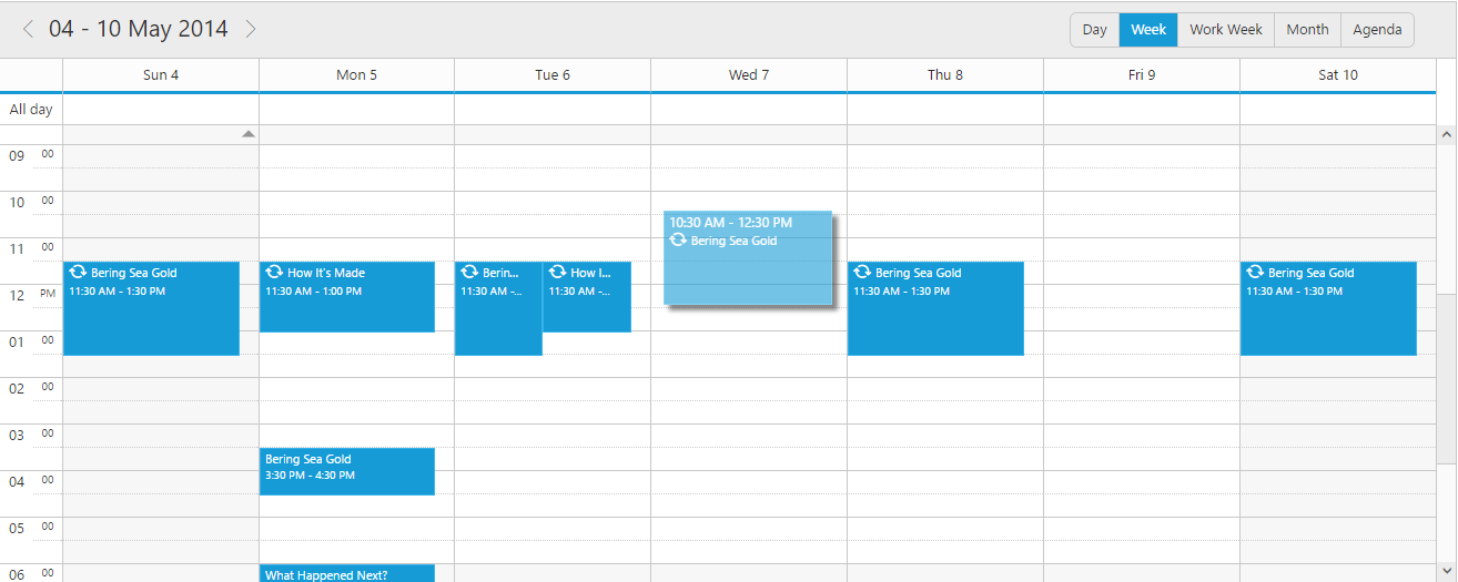 Scheduler with customized time while dragging
