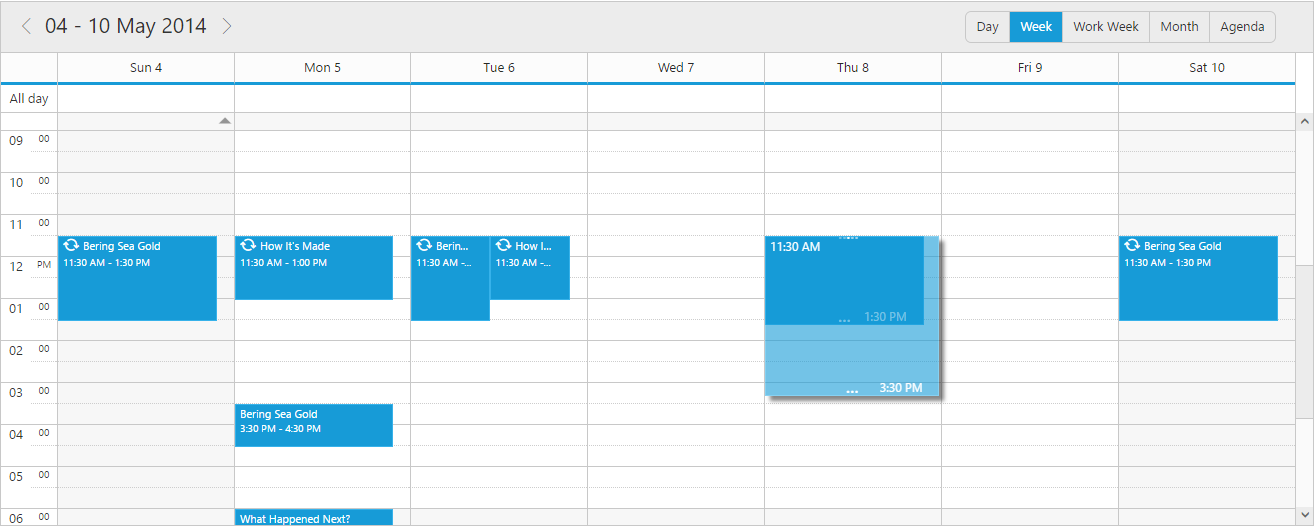Scheduler with customized time while resizing