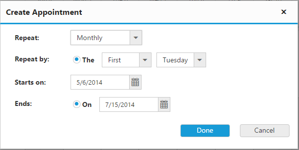 Scheduler with customized recurrence editor