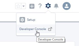 Open developer console window to create new apex page.