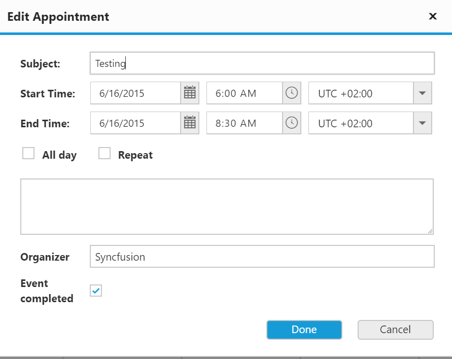 Default appointment window with customized fields