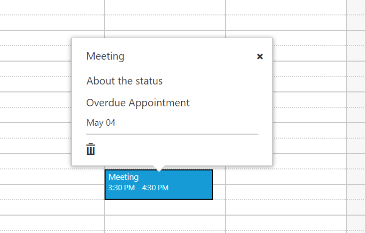 Customized quick window displaying on appointment click