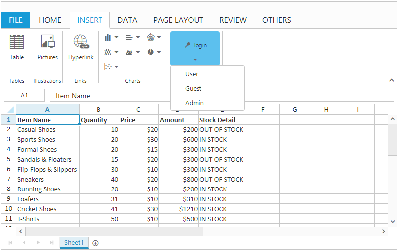 spreadsheet add or remove controls sample preview