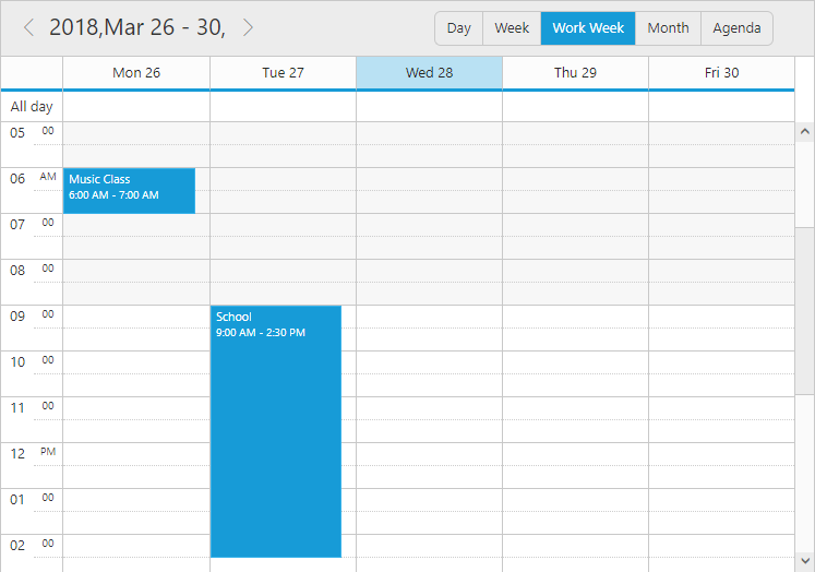 Customized date header format in Work Week view