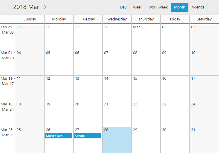 Customized date header format in Month view