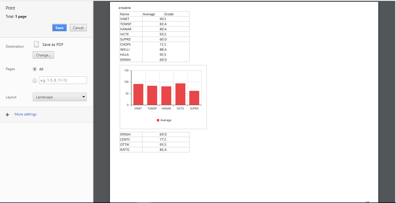 spreadsheet custom print sample preview
