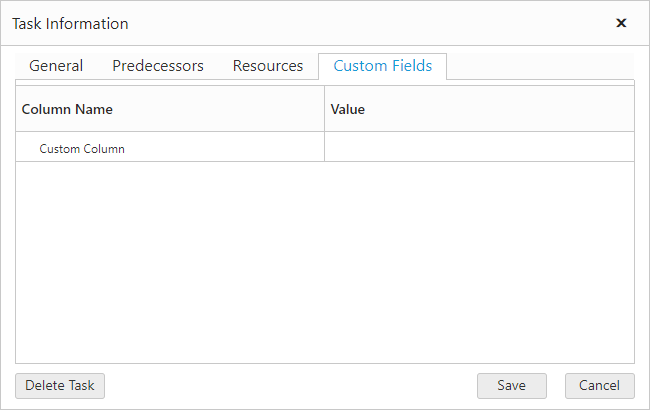 Add custom column fields in gantt resource view.