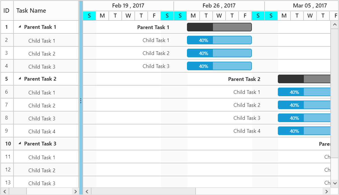 Customize the background color for gantt schedule header.