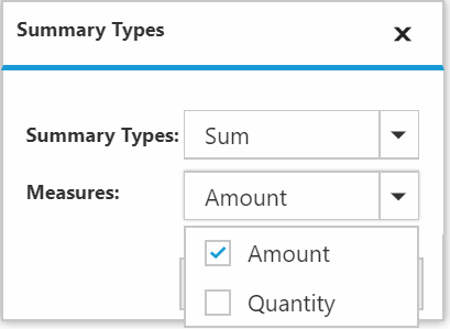 Measure selection from summary type dialog