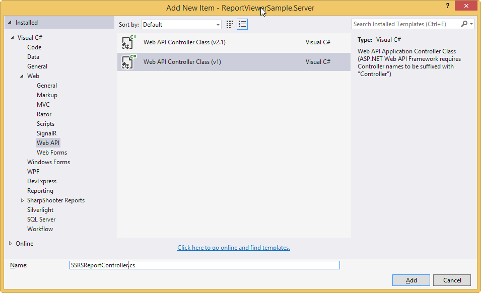 Add Web API Controller Class
