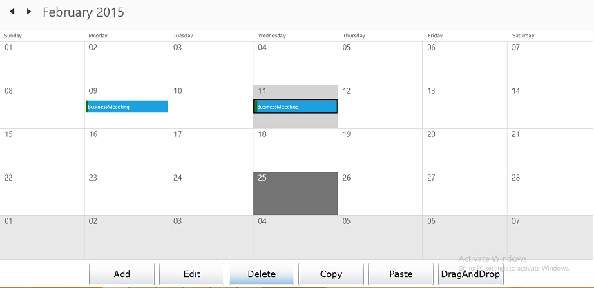 Deleting appointments using delete button