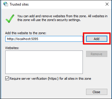 Add the trusted sites in IE and Chrome