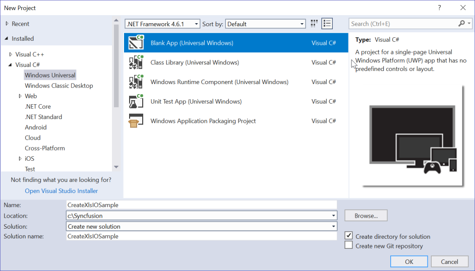 Create Blank App (Universal Windows) application in Visual Studio