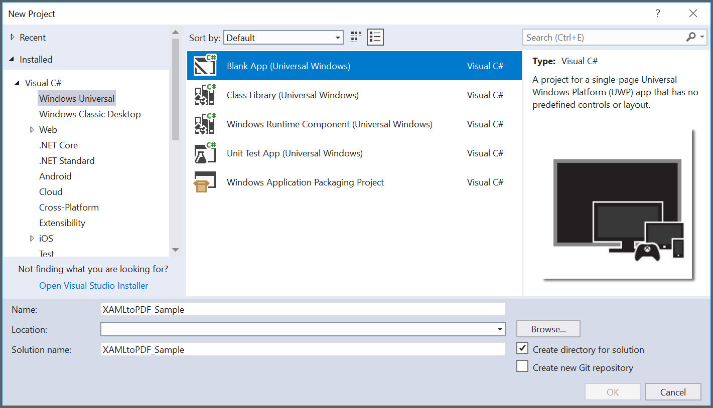 Create new UWP blank application