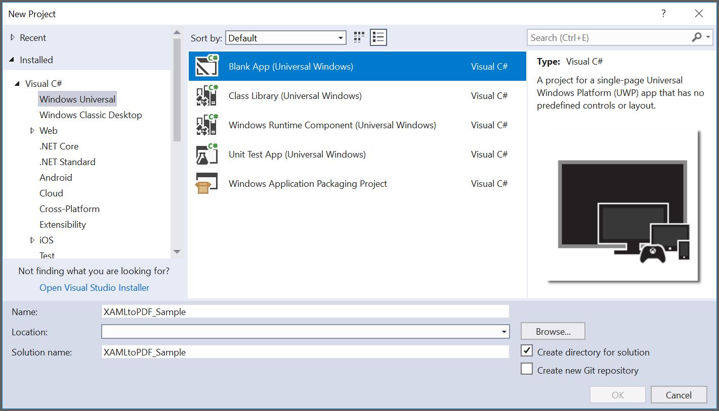 Create new UWP blank application