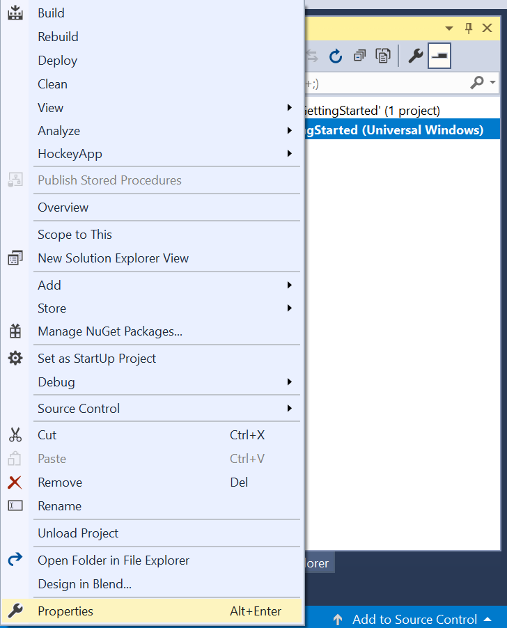 Select properties by right clicking the UWP project
