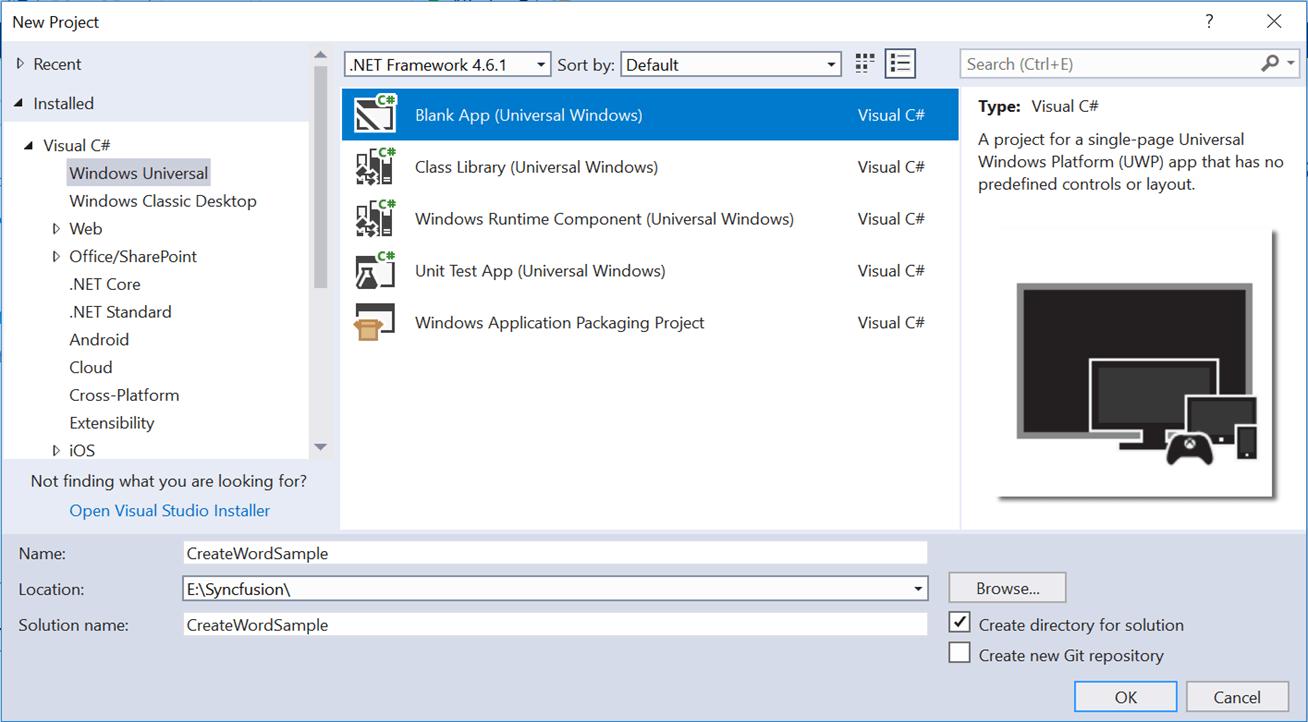 Create UWP application in Visual Studio