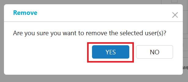 Portal user delete confirmation message