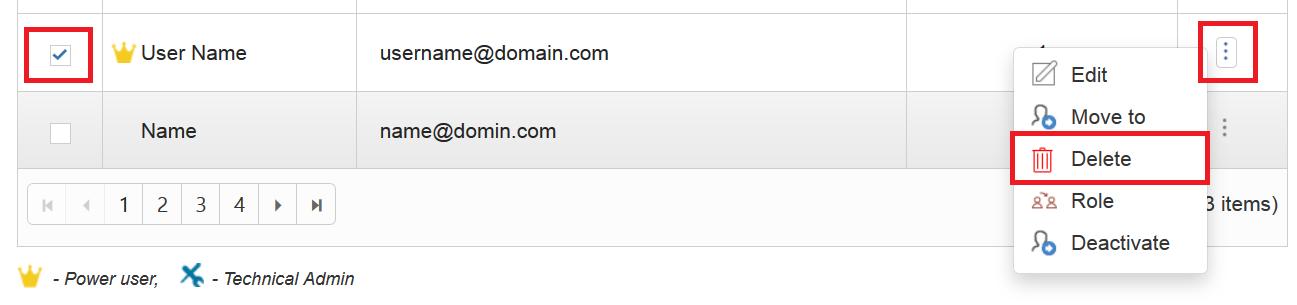 Delete user form portal