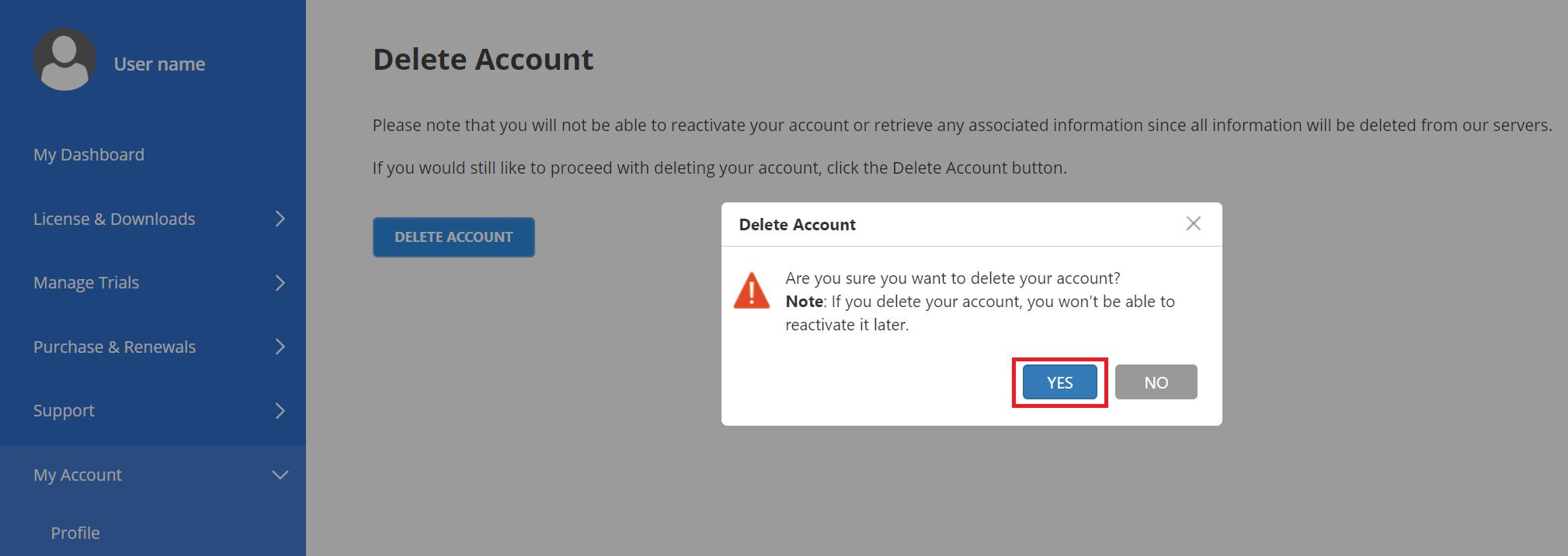 Delete account request confirmation pop-up
