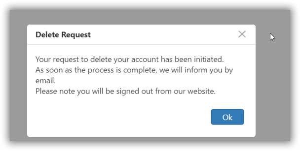 Delete request confirmation