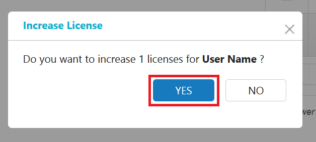 License increment confirmation