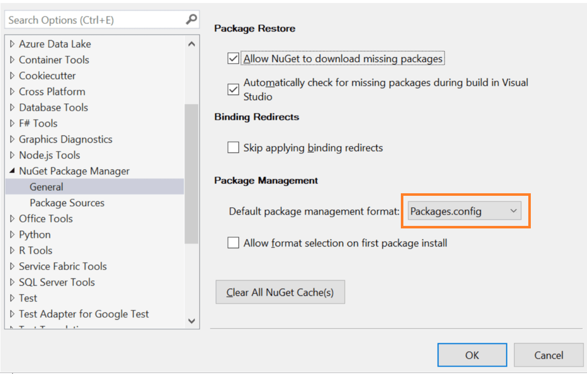 Package management configuration