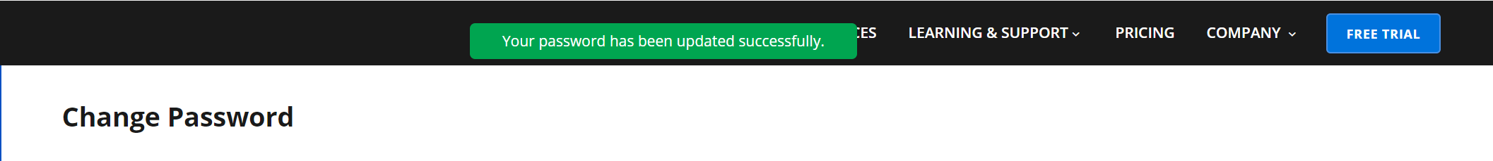 Password changed success message