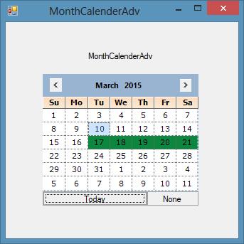 Customize the monthCalendarAdv