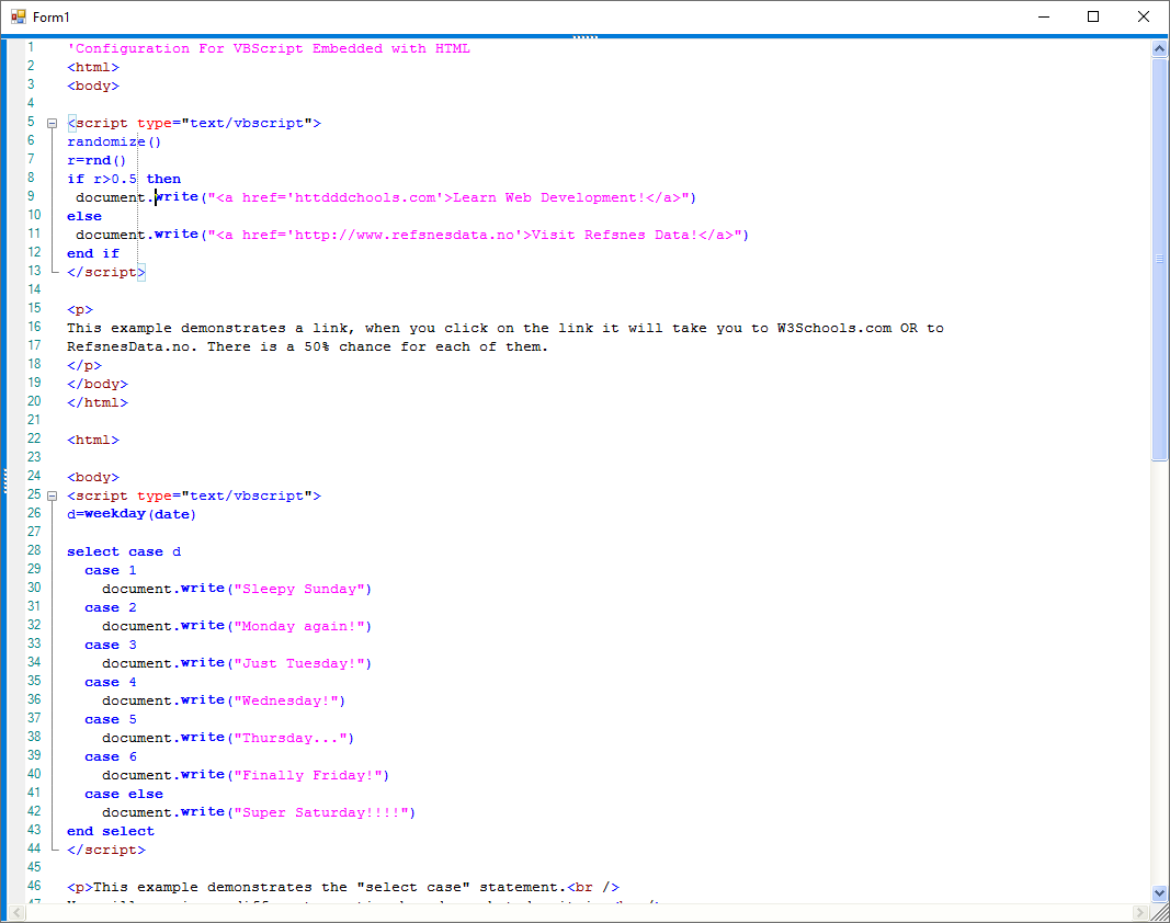 HTML file embedded with VBScript