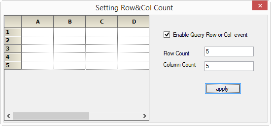 Setting the row and column count