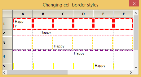 Changing the appearance of the border of the cell