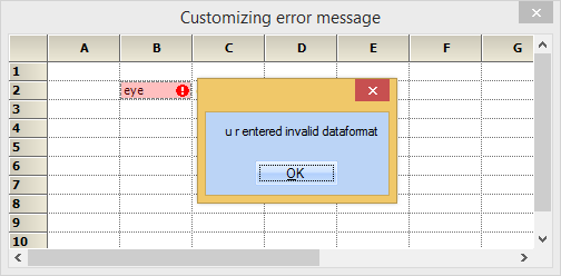 Custom message shows when an invalid data is entered