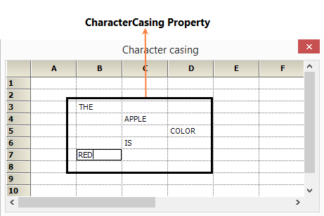 Character casing into the grid cells